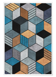 Póster Colorful Concrete Cubes 2 Blue Grey Brown