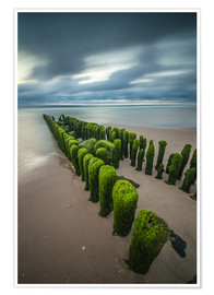 Póster  mystical groyne on Sylt (long exposure) - Heiko Mundel