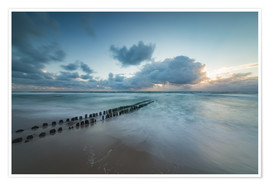 Póster Groyne in the evening on Sylt (long exposure)