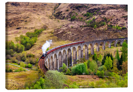 Lienzo  Glenfinnan viaduct with incoming train - Reemt Peters-Hein