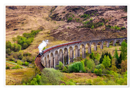 Póster Glenfinnan viaduct with incoming train