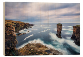 Cuadro de madera  Yesnaby Cliffs on Orkney Islands - Reemt Peters-Hein