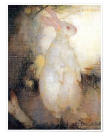 Póster  Conejo blanco, de pie - Jan Mankes