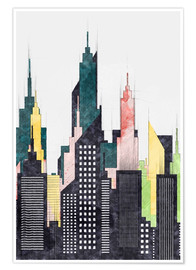 Póster Colorful City Of New York City Sketch