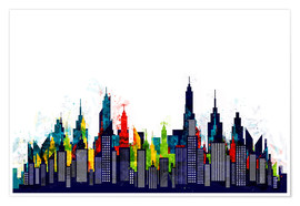 Póster New York City Abstract Skyline In Watercolors