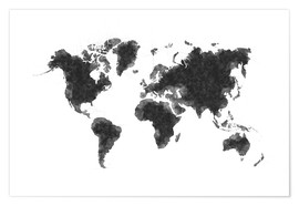 Póster  Map Of The World Sketch - Radu Bercan