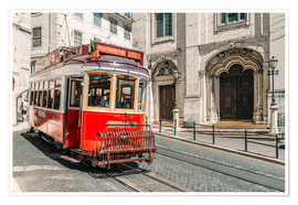 Póster Red Tram Travelling In Lisbon City