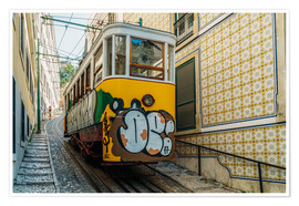 Póster Vintage Tram Ride In Lisbon City