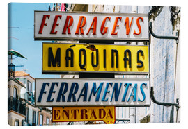 Lienzo  Colorful Vintage Store Signs In Lisbon - Radu Bercan