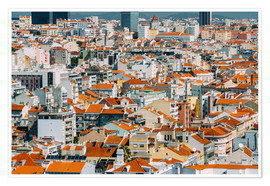 Póster  Lisbon City Rooftops In Portugal - Radu Bercan