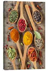 Lienzo  Colorful spices in wooden spoons - Elena Schweitzer