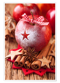 Póster Red winter apples with cinnamon sticks and anise